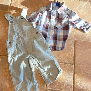 Ralph Lauren top with overalls size 3-6 months